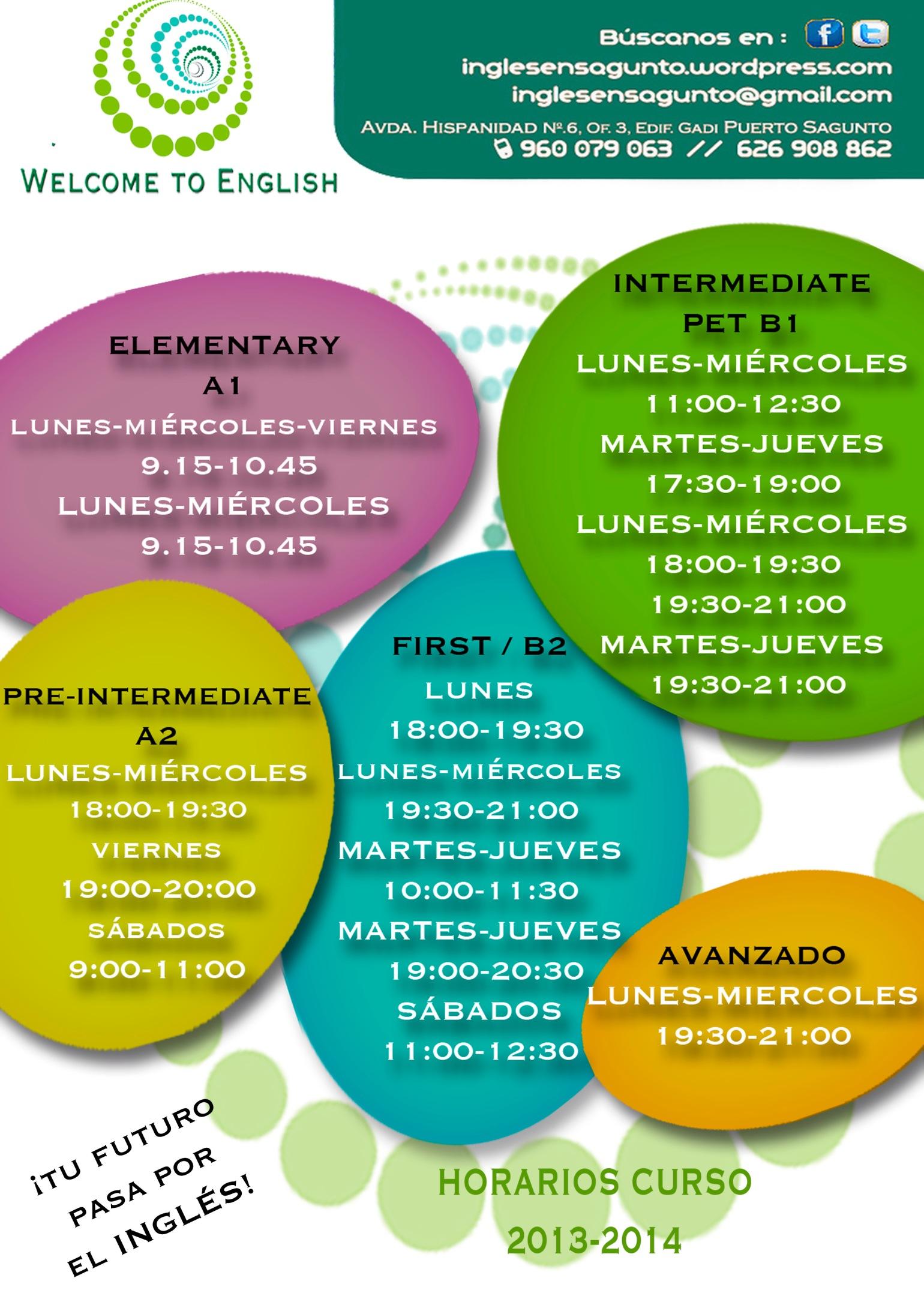 Horarios Academia de Inglés en Puerto Sagunto